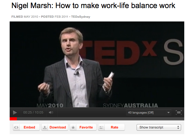 Nigel Marsh Ted Talk in Sydney Australia