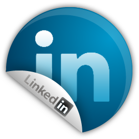 LinkedIn circular logo with peel