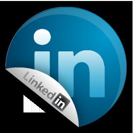LinkedIn circular logo with peel