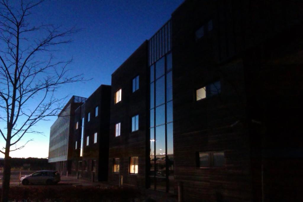 Night shot of Business Gateway Clydebank Titan Building