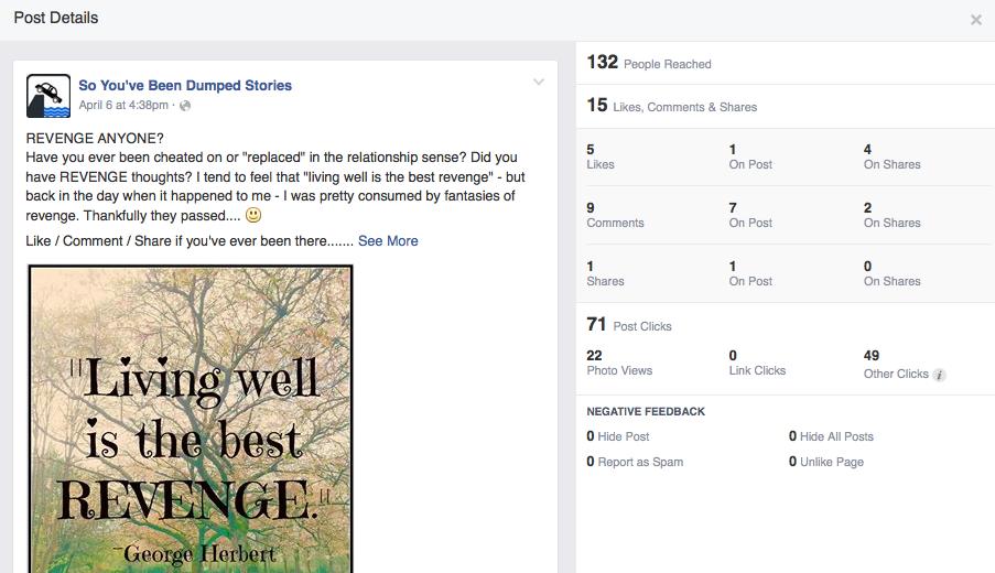 Facebook insights: Stats on Revenge Post
