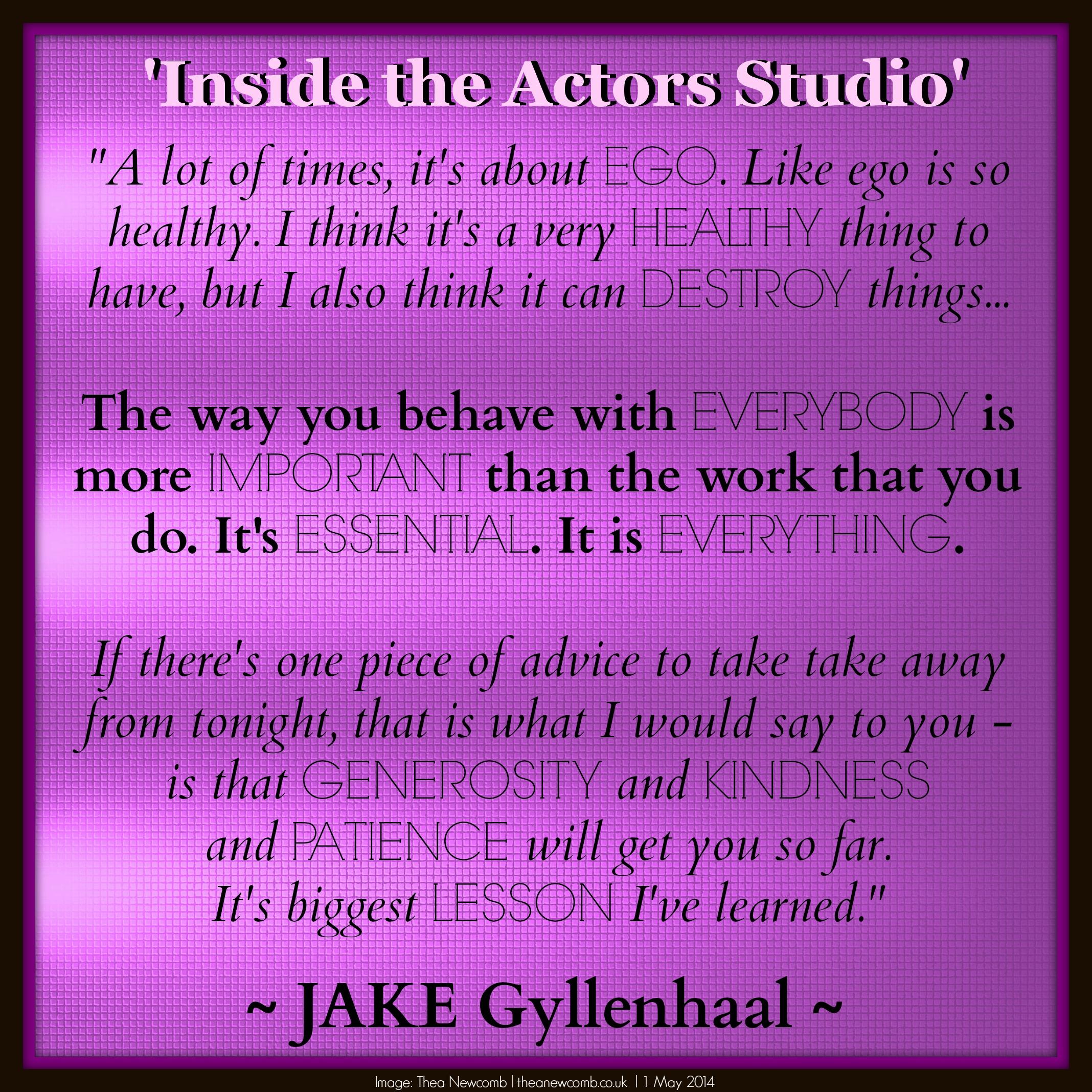 Jake Gyllenhaal on Inisde the Actors Studio