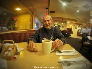 My dad with a coffee...Jan 2015 at CoCo's.