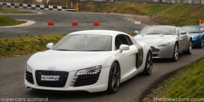 supercars scotland lined up - audi, aston martin, lotus