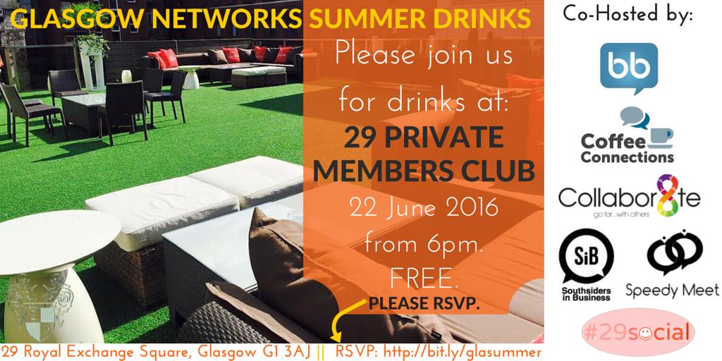 Glasgow Networks Summer Drinks