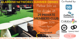 Glasgow Networks Summer Drinks