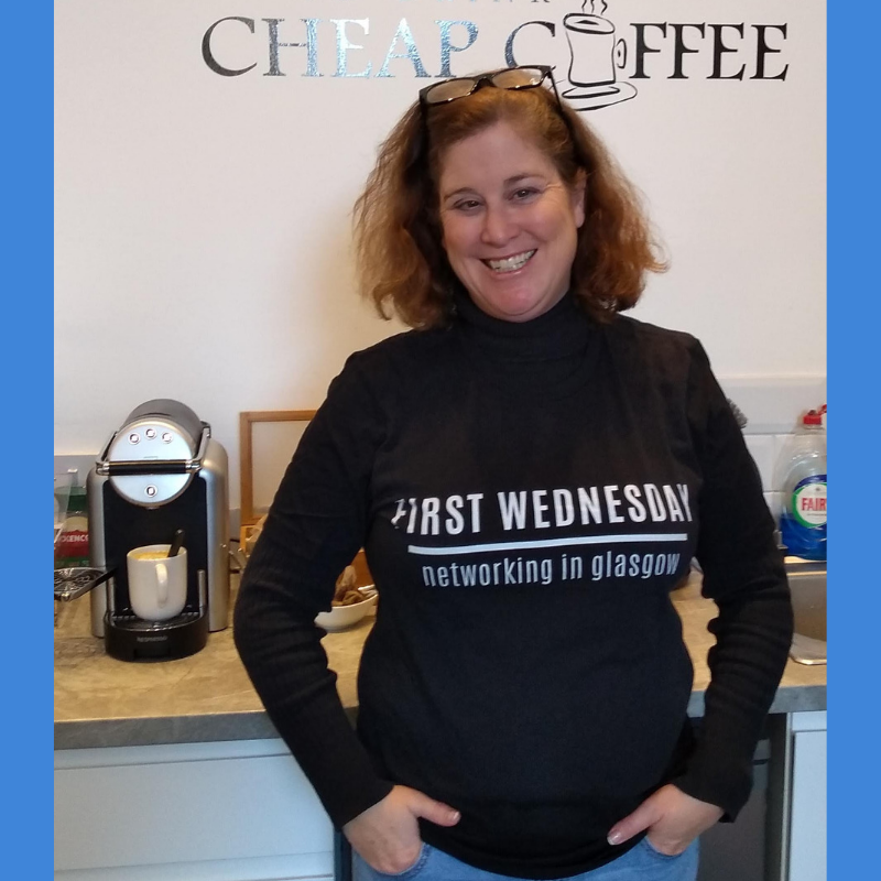 Thea Newcomb founder First Wednesday Networking in Glasgow - with tshirt