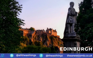 Edinburgh Castle from Princes Street at Sunset in July 2019 - by Thea Newcomb