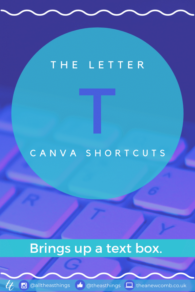 My Fave Canva Shortcut Letter T = Text Box