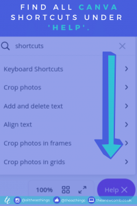 All Canva Shortcuts - bottom of your canvas