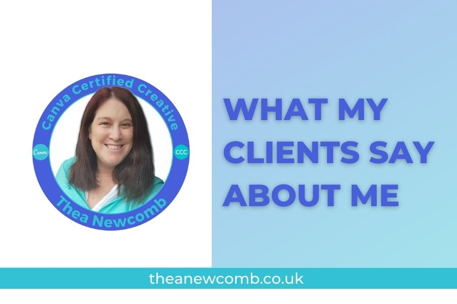 endorsements for Thea Newcomb - client testimonials for Canva and KDP Training (mostly)