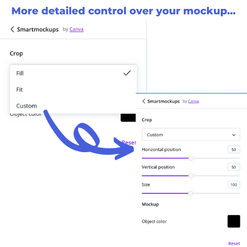 Choose 'Custom' to control the mockup placement