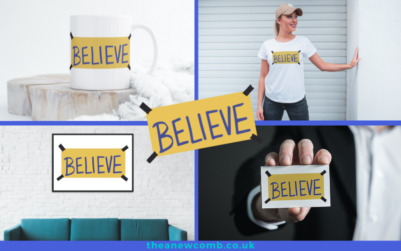 Canva's SmartMockups feature - I Believe in Believe - sign as example by Thea