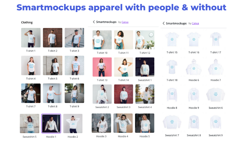 Apparel Tshirt Hoodie Mockups in Canva's SmartMockups
