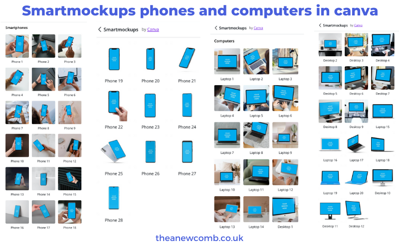 Canva's Smartmockups phones computers devices