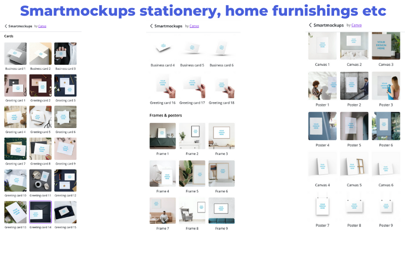 smart mockup for hone furnishings and stationery