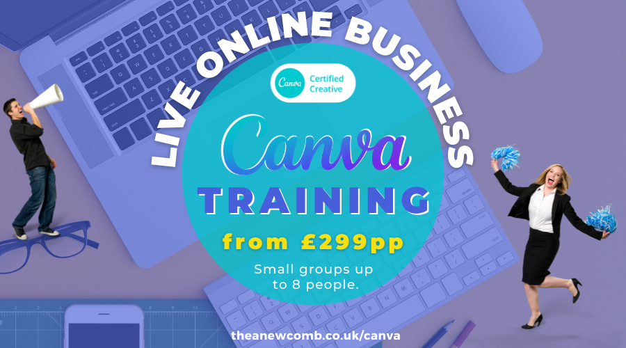 Live Online Canva Training for businesses from £299 per person from Canva Certified Creative Thea Newcomb